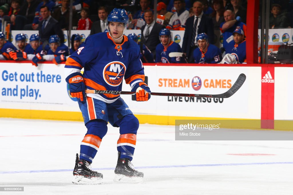 Thomas Hickey #14 of the New York Islanders skates against the Carolina Hurricanesat Barclays Center on March 18, 2018 in New York City. Carolina Hurricanes defeated the New York Islanders 4-3