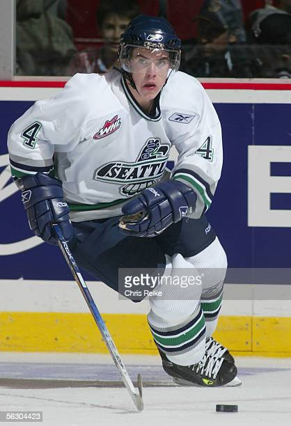 Thomas Hickey of the Seattle Thunderbirds skates against the Vancouver Giants during the WHL hockey game on October 2 2005 at Pacific Coliseum in...