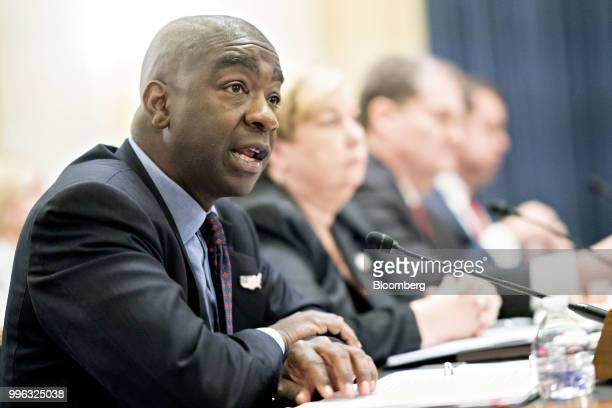 Thomas Hicks chairman of the US Election Assistance Commission speaks during a Senate Rules and Administration Committee hearing on election security...