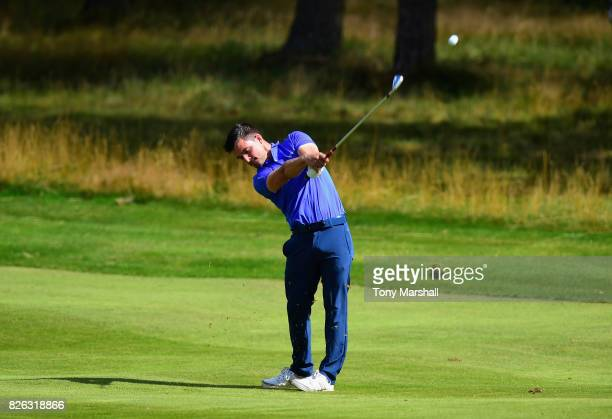 Thomas Higson of Gleneagles Hotel Golf Courses plays his second shot on the 1st fairway during Day Three of the Galvin Green PGA Assistants'...