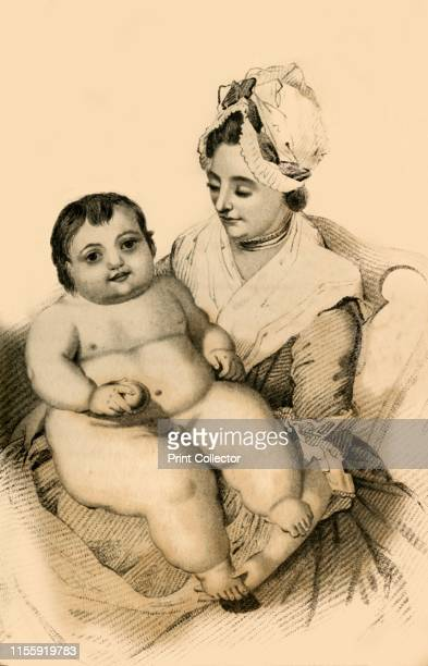 Thomas Hills Everett Aged Eleven Months' 1822 Portrait of Mrs Everitt and her son Thomas 'the enormous baby' Thomas was born at Enfield Middlesex in...