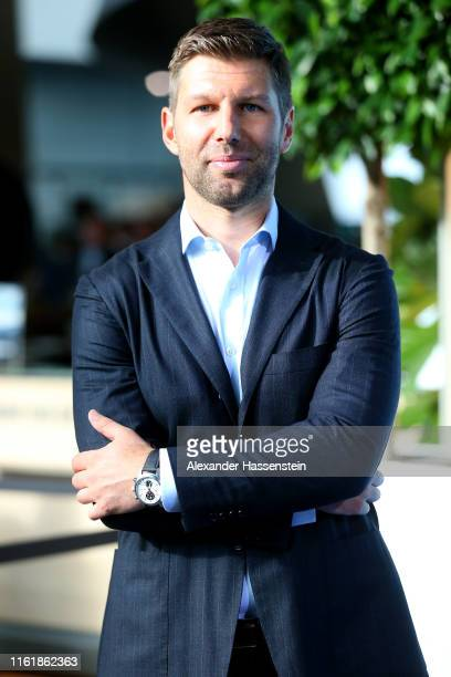 Thomas Hitzlsperger arrives for the Bavarian Sport Award 2019 at BMW World on July 13, 2019 in Munich, Germany.