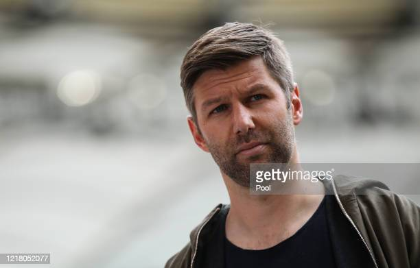 Thomas Hitzlsperger, CEO of VfB Stuttgart gives an interview before the game the Second Bundesliga match between VfB Stuttgart and VfL Osnabrück at...