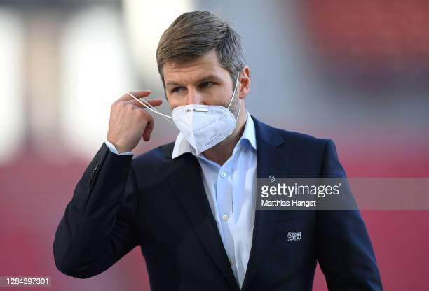 Thomas Hitzlsperger, Head of Sport at VfB Stuttgart is interviewed prior to the Bundesliga match between VfB Stuttgart and Eintracht Frankfurt at...