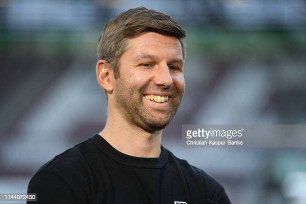 Thomas Hitzlsperger, Managing Director Sport of VfB Stuttgart looks on ahead of the Bundesliga match between FC Augsburg and VfB Stuttgart at...
