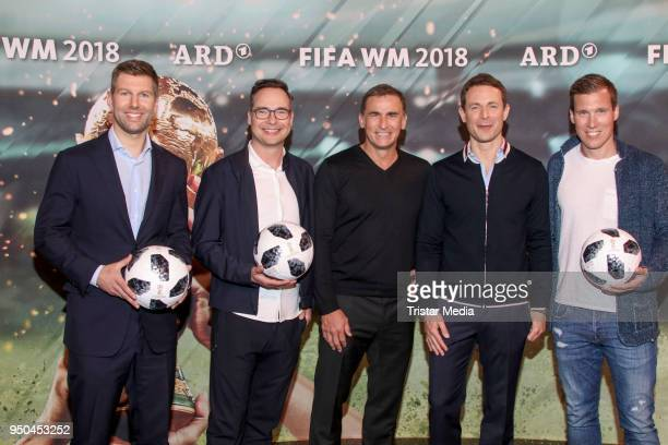 Thomas Hitzlsperger Matthias Opdenhoevel Stefan Kuntz Alexander Bommes and Hannes Wolf during the TV programs ARD and ZDF present their team for the...