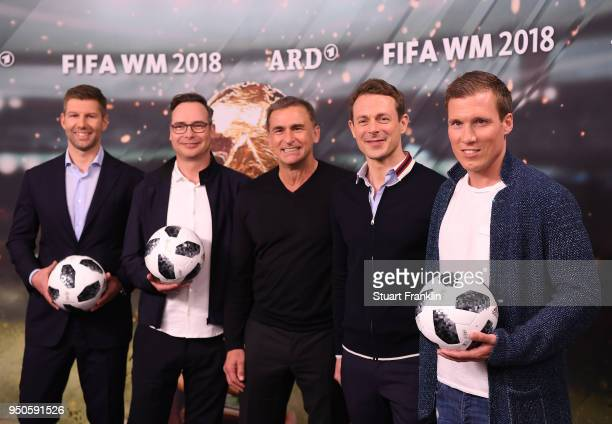 Thomas Hitzlsperger Matthias Opdenhoevel Stefan Kuntz Alexander Bommes and Hannes Wolf pose for a picture during the ARD and ZDF FIFA World Cup...