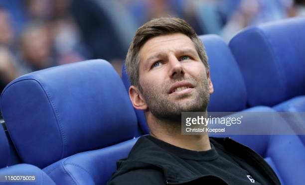 Thomas Hitzlsperger, member of the board of Stuttgart looks on prior to the Bundesliga match between FC Schalke 04 and VfB Stuttgart at Veltins-Arena...
