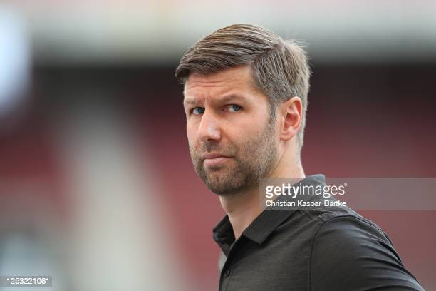 Thomas Hitzlsperger, Member of the board of VfB Stuttgart looks on prior to the Second Bundesliga match between VfB Stuttgart and SV Darmstadt 98 at...