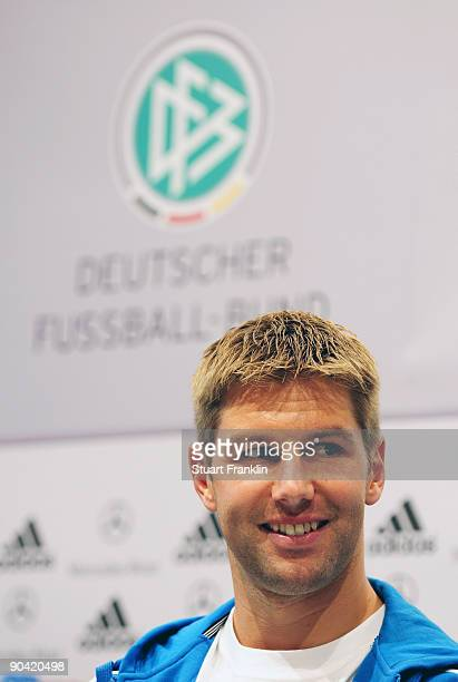 Thomas Hitzlsperger of Germany during the DFB press conference at the Guerzenich on September 7 2009 in Cologne Germany
