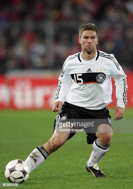 Thomas Hitzlsperger of Germany runs with the ball during the international friendly match between Switzerland and Germany at the St JakobPark on...