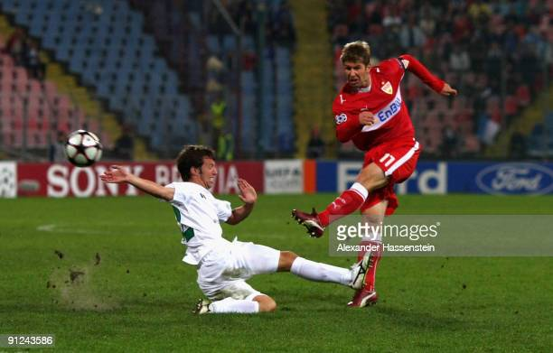 Thomas Hitzlsperger of Stuttgart battles for the ball with Vasile Maftei of Urziceni during the UEFA Champions League Group G match between AFC...