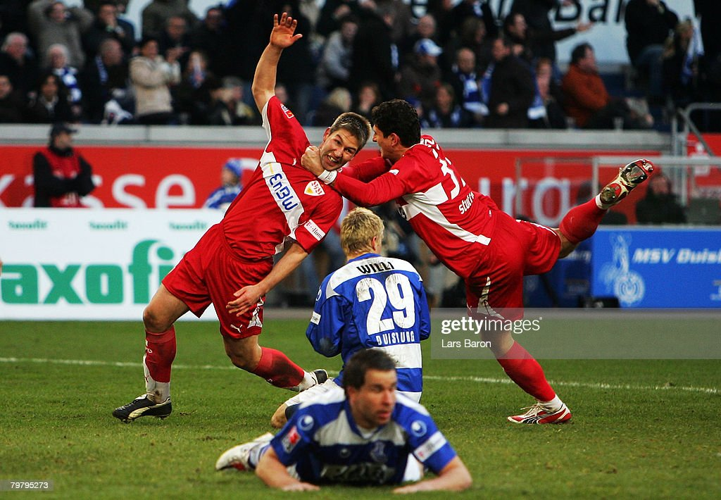 Thomas Hitzlsperger of Stuttgart celebrates with team mate Mario Gomez after scoring the winning goal during the Bundesliga match between MSV Duisburg and VfB Stuttgart at the MSV Arena on February 16, 2008 in Duisburg, Germany.