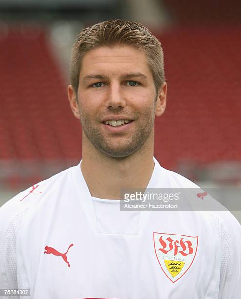 Thomas Hitzlsperger of Stuttgart poses during the Bundesliga 1st Team Presentation of VfB Stuttgart at the GottliebDaimler stadium on July 9 2007 in...