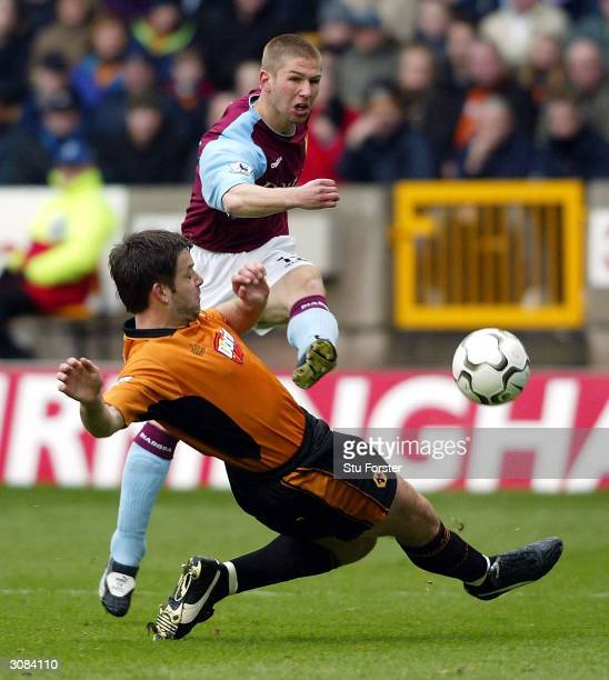 Thomas Hitzlsperger of Villa scores the first goal during the FA Barclaycard Premiership match between Wolverhampton Wanderers and Aston Villa at The...