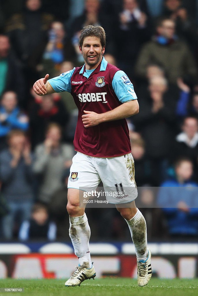 Thomas Hitzlsperger of West Ham United celebrates scoring his sides third goal during the Barclays Premier League match between West Ham United and Stoke City at the Boleyn Ground on March 5, 2011 in London, England.