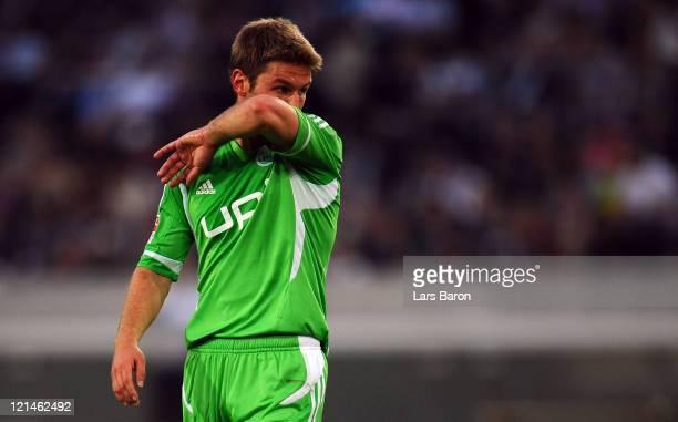 Thomas Hitzlsperger of Wolfsburg reacts during the Bundesliga match between Borussia Moenchengladbach and VfL Wolfsburg at Borussia Park Stadium on...