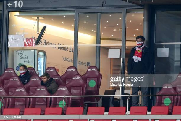 Thomas Hitzlsperger, Sporting Director of VfB Stuttgart and Claus Vogt, President of VfB Stuttgart are seen in the stands prior to the Bundesliga...
