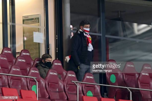 Thomas Hitzlsperger, Sporting Director of VfB Stuttgart and Claus Vogt, President of VfB Stuttgart are seen in the stands during the Bundesliga match...
