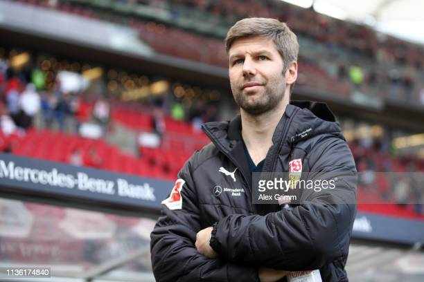 Thomas Hitzlsperger, sporting director of VfB Stuttgart looks on prior tothe Bundesliga match between VfB Stuttgart and TSG 1899 Hoffenheim at...