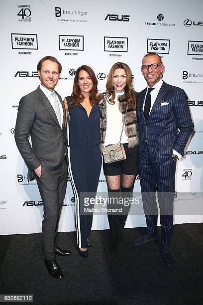 Thomas Hoehn Elena Bruhn Annette Moeller and Andreas Rebbelmund attend the Breuninger show during Platform Fashion January 2017 at Areal Boehler on...