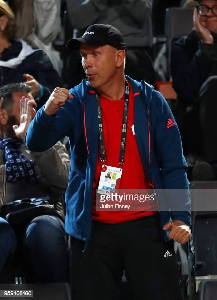 Thomas Hogstedt coach of Maria Sharapova of Russia gives her support in their match against Dominika Cibulkova of Slovakia during day four of the...