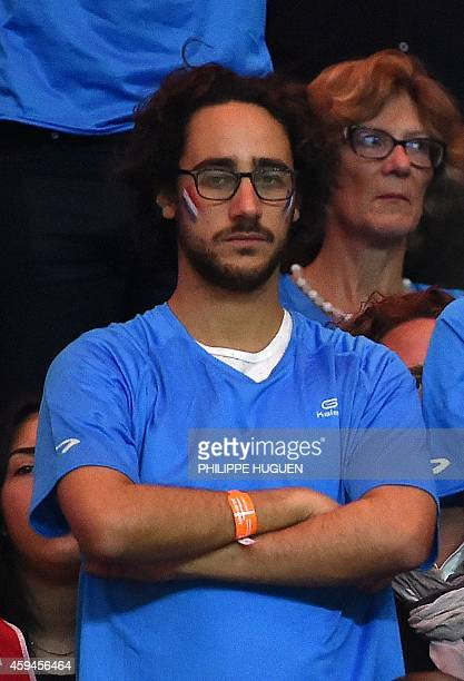 Thomas Hollande son of French President Francois Hollande attends the tennis match between France's Richard Gasquet and Switzerland's Roger Federer...