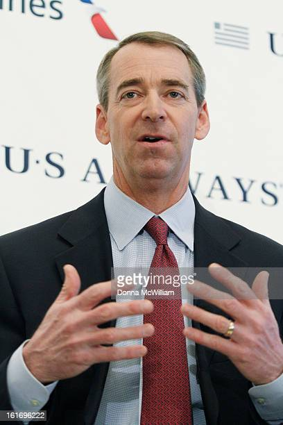Thomas Horton Chairman President and Chief Executive Officer of American Airlines speaks during a news conference to announce the merger of American...