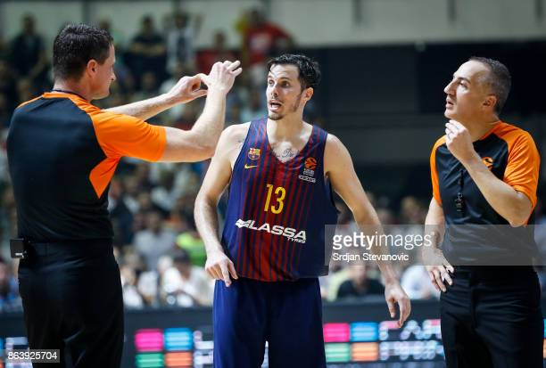 Thomas Huertel of Barcelona talk with the referees during the 2017/2018 Turkish Airlines EuroLeague Regular Season game between Crvena Zvezda mts...