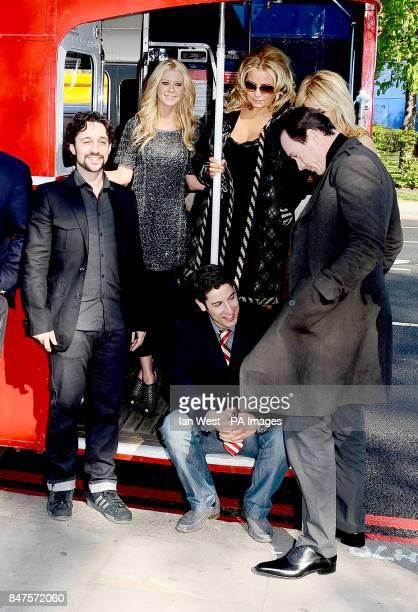 Thomas Ian Nicholas Tara Reid Jason Biggs Jennifer Coolidge Mena Suvari Chris Klein on an open top bus in London to promote their new film American...