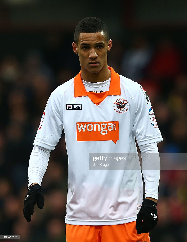 Thomas Ince of Blackpool looks on during the npower Champions match between Watford and Blackpool at Vicarage Road on March 9, 2013 in Watford, England.