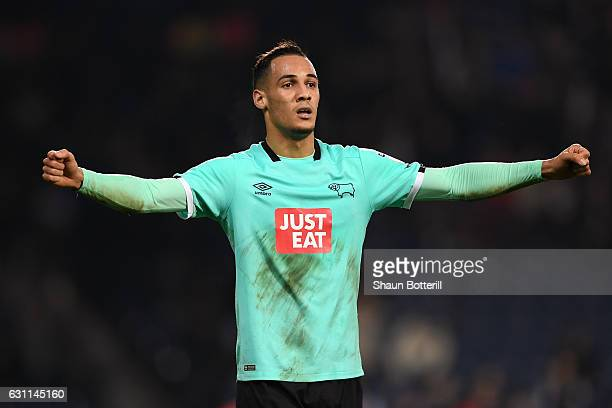 Thomas Ince of Derby County celebrates after the full time whistle during the Emirates FA Cup Third Round match between West Bromwich Albion and...