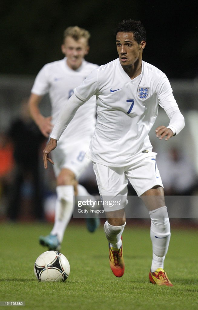 Thomas Ince of England in action during the Lithuania v England UEFA U21 Championship Qualifier 2015 match at Dariaus ir Gireno Stadionas on September 5, 2014 in Kaunas, Lithuania.