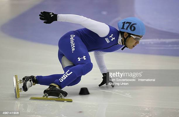 Thomas Insuk Hong of the United States competes on Day 1 of the ISU World Cup Short Track Speed Skating competition at MasterCard Centre on November...