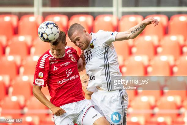 Thomas Isherwood of Ostersunds FK shoots a header during the Allsvenskan match between Kalmar FF and Ostersunds FK at Guldfageln Arena on July 1,...