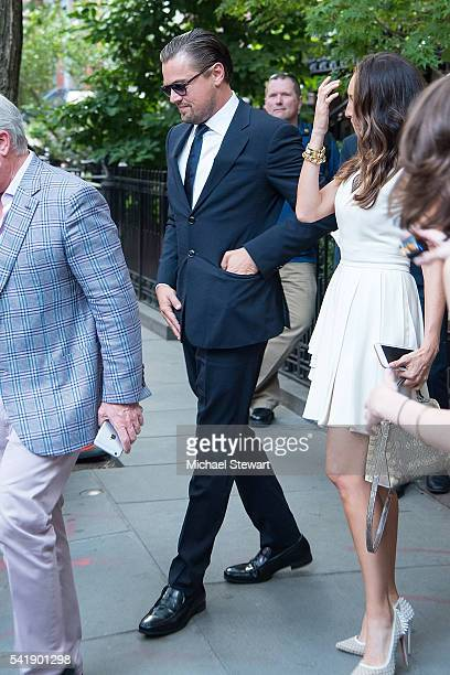 Thomas J Henry actor Leonardo DiCaprio and Azteca Henry attend a Hillary Victory Fund fundraiser at the residence of Harvey Weinstein on June 20 2016...