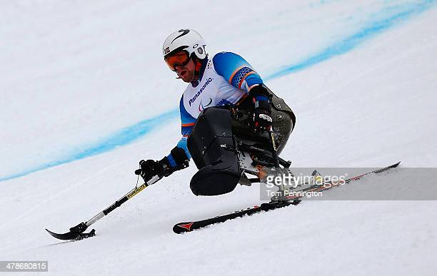 Thomas Jacobsen of Norway competes in the Men's Super Combined Sitting Super G during day seven of the Sochi 2014 Paralympic Winter Games at Rosa...