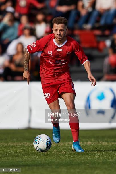 Thomas James of Wollongong controls the ball during the National Premier Leagues Grand Final between Wollongong Wolves and Lions FC at Albert Butler...