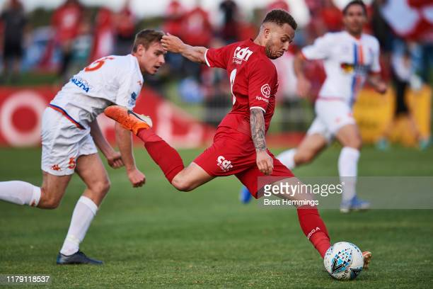 Thomas James of Wollongong scores a goal during the National Premier Leagues Grand Final between Wollongong Wolves and Lions FC at Albert Butler Park...