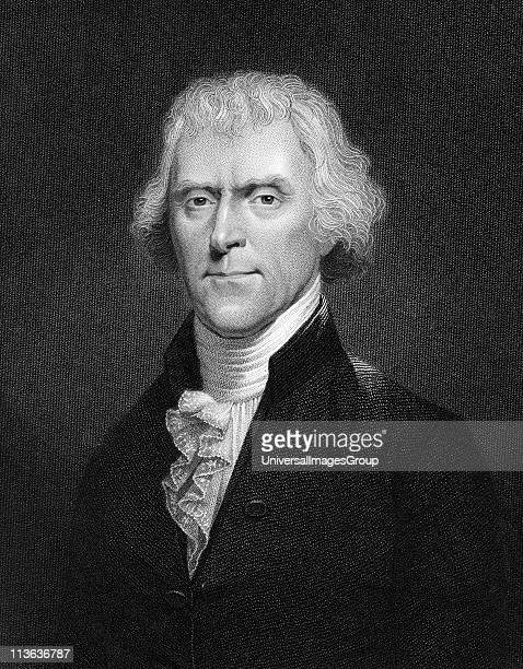 Thomas Jefferson 3rd president of the USA Engraving after portrait by Desnoyers