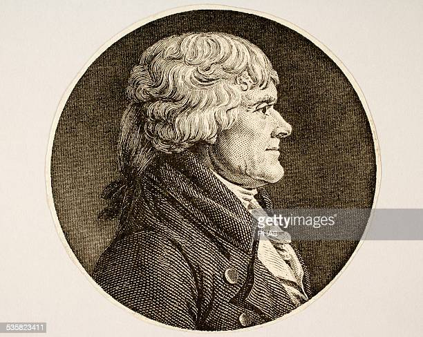 Thomas Jefferson American Founding Father the principal author of the Declaration of Independence and de third President of the United State Engraving