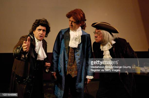 Thomas Jefferson , center, Ben Franklin , left, and John Adams during a rehearsal for their July 4 performance at the Printing Museum in Carson, CA...