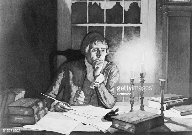 Thomas Jefferson drafting Declaration of Independence painting by NC Wyeth