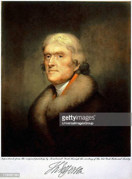 Thomas Jefferson Third President of the United States 18011809 Lithograph after the 1805 portrait by Rembrandt Peale