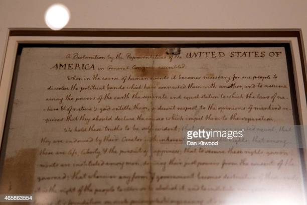 Thomas Jeffersons handwritten copy of the Declaration of Independence is displayed at The British Library on March 11 2015 in London England The...