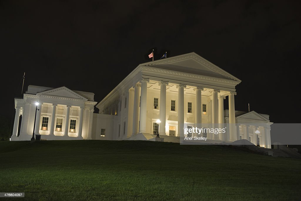Thomas Jefferson's house at night : Stock Photo