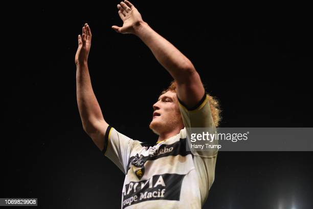 Thomas Jolmes of La Rochelle celebrates during the Challenge Cup match between Bristol Bears and La Rochelle at Ashton Gate on December 8 2018 in...