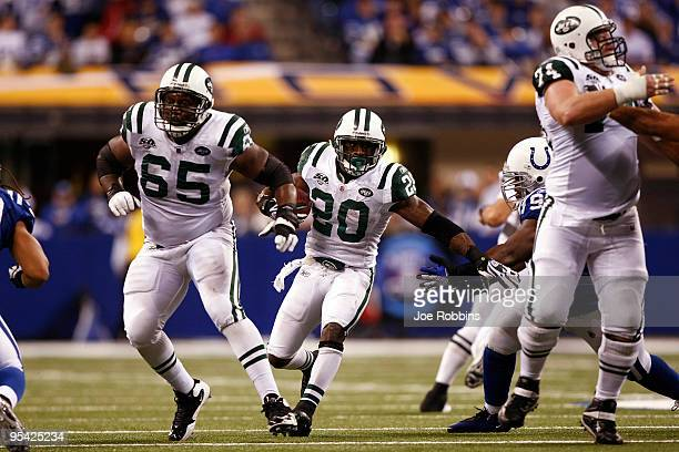 Thomas Jones of the New York Jets runs with the football against the Indianapolis Colts at Lucas Oil Stadium on December 27 2009 in Indianapolis...