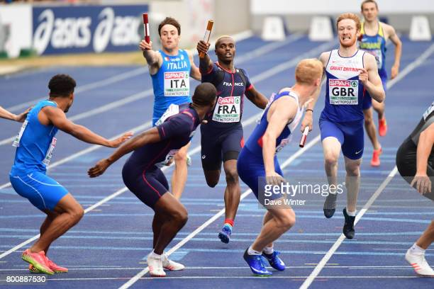 Thomas Jordier hands the baton over to Mamadou Hanne during the European Athletics Team Championships Super League at Grand Stade Lille Metropole on...