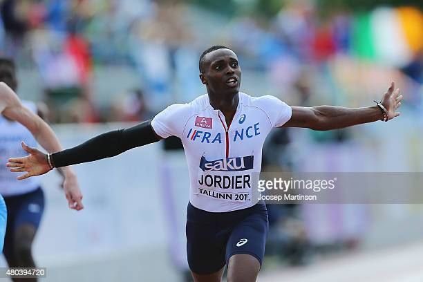 Thomas Jordier of France celebrates winning the Men's 400m on day three of the European Athletics U23 Championships at Kadriorg Stadium on July 9...